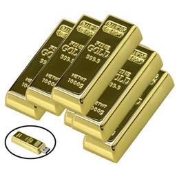 Wholesale 64gb Usb Gold Bar Flash - 64GB usb flash drive Latest desgin Bullion Gold Bar USB 2.0 Flash Memory Drive Stick U disk 128mb 8GB 16GB 32GB 64GB Pendrive