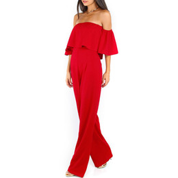 Wholesale Women Sexy Jumpsuits Wide Leg - Wholesale- Women off shoulder jumpsuit romper Sexy short sleeve jumpsuit Chiffon rompers womens jumpsuit Wide legs Playsuit Overall Macacao