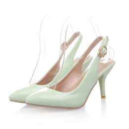 Wholesale Cheap Plus Size Shoes - Summer Style Women's Dress Shoes 5 cm heels Mint green Women Pumps Plus size 43 Sexy girls Large shoes Woman Cheap online stores