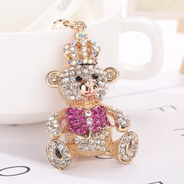 Wholesale Pops Locks - Female student Keychain hanging bag new Korean pop alloy diamond bear Keychain