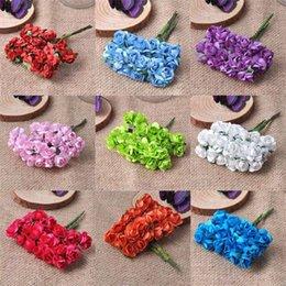 Wholesale Wedding Mini Paper Roses - Wholesale- 24pcs 15mm Mini Artificial Paper Rose Flower Bouquet Wedding Decor Scrapbooking DIY CP0022X