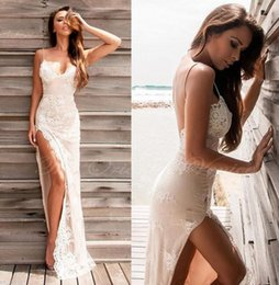 Wholesale Evening Dresses For Beach Party - 2017 Sexy Spaghetti Straps High Split Evening Dress Long Lace Appliques Sheath Summer Prom Party Dress for Beach Robe de Soriee