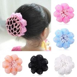 Wholesale Children Hair Net - Wholesale- 2016 Top Baby Child Dance Flower Balls Hair Net Involucres Large Hairnet Hair Accessories Beauty Tools