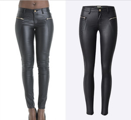 Wholesale Sexy Leather Skinny Jeans - Wholesale- 2016 New Sexy low waisted zippers patchwork skinny leather pants trouser pencil jeans jeggings full length plus size women woman