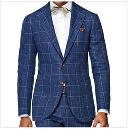 Wholesale custom tailor suits - Men'S Wardrobe Essentials Slim Fit Windowpane Suit Tailor Made Navy Blue Windowpane Check Suits For Men,Elegant Business Suit