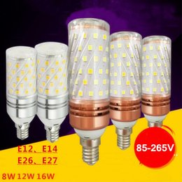Wholesale E12 8w - New 12W LED Corn Bulbs 8W 16W E12 E14 E26 E27 Candelabra LED Light Bulbs 100W Incandescent Equivalent LED Chandeliers Bulbs Candle Lamp