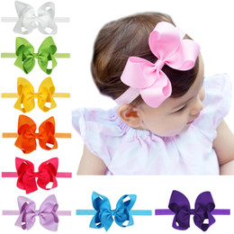 Wholesale Hair Elasticity - 12 colors Baby Girls Bow Headbands Elasticity Infant big bow hair band cute Hair Accessories 4.5 inches C1922