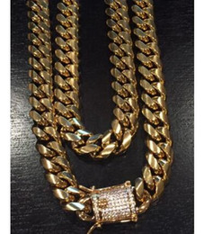 """Wholesale Yellow Gold Cross Necklace - 12MM 24"""" Chain & Mens Gold Miami Cuban Link 18K"""