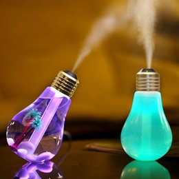 Wholesale Aroma Bulb - New 400ML Bulb Humidifier USB DC 5V 7 Colors changing Night Light Air Ultrasonic Humidifiers Oil Essential Aroma Diffuser Mist Maker Fogger