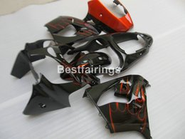 Wholesale kawasaki aftermarket motorcycle fairings - Aftermarket body parts Fairing kit for Kawasaki Ninja ZX9R 2000 2001 red flames black motorcycle fairings set ZX9R 00 01 PJ27