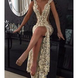 Wholesale Transparent Lace Evening Dress Sexy - 2017 Sexy Lace Mermaid Evening Dresses Deep V Neck Beaded High Slit Transparent African Prom Party Wear robe de soiree