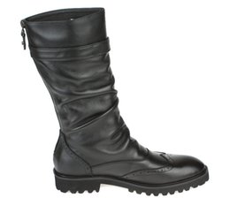 Wholesale knee high mens black boots - Fashion British black winter mens boots genuine leather high boots mens motorcycle boots with buckle