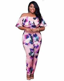 Wholesale Floral Strapless Jumpsuit - Wholesale- S-4XL Plus Size Women Fashion Jumpsuits Sexy Strapless Ruffles Details Bodysuits One Pieces Ladies Floral Printed Jumpsuits