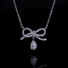 Wholesale Necklace Real Stone - Necklace brass fashion jewellery white cubic zirconia stones real rhodium plate bowknot USA style jewellery for girls pendants free shipping