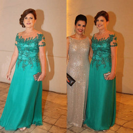 Wholesale Teal Evening Dresses Images - Teal Chiffon Floor Length Mother Of The Bride Dresses Formal Outfits 2017 Sheer Neck Applique Beaded Evening Gown Cheap Prom Dress Plus Size