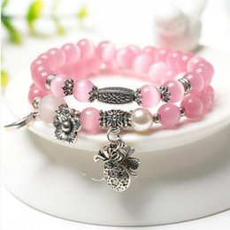 Wholesale Multi Bracelet Clover - Crystal Jewelry Pink Cat's Eye Stone Multi-turn Bracelet Lady Clover Accessories Valentine's Day Birthday Gift