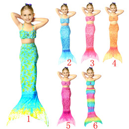 Wholesale Two Piece Bikini Sale - 1pc sale Girls mermaid tail Bikini Fashion Tail Swimsuit 6 Design children Bikini Bathing Suit Swimsuit Beach Wear Swimming