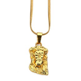 Wholesale Cheap Gold Chains For Men - Fashion Men Charm Small Jesus Cheap Pendant Necklaces for Mens Stainless Steel 18k Gold Plated Chains Punk Hip Hop Jewelry Gift
