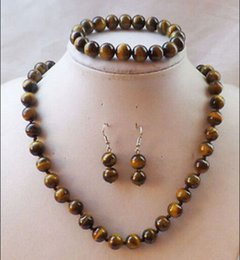 Wholesale African Beaded Earrings - free shipping >>>>>8mm Natural African Tiger Eye Gemstone Beads Necklace Bracelet Earrings Set