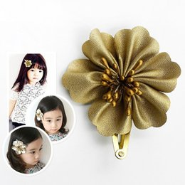 Wholesale Classic Baby Hair Clips - Wholesale Gold Flower BB Hair Clips Trendy Headdress Classic Hairpins New Designed Pretty Baby Girl Floral Barrettes Head Wear