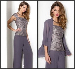 Wholesale Dark Gray Suits - 2018 New Summer Lace Chiffon Mother Of The Bride Pant Suits With Long Sleeve Jacket Spaghetti Straps Trousers Formal Evening Gowns 107