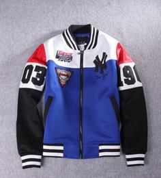 "Wholesale Trendy Long Jackets - New Fashion Mens jacket Trendy ""NY"" Baseball Uniform Slim Designed Fit Coat Jacket Outerwear 2 Colors Men Clothing"