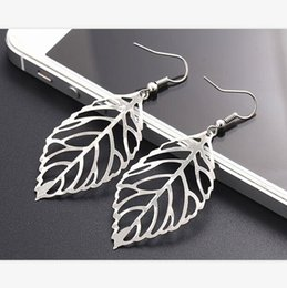 Wholesale Noble Bohemian - Hot sale Noble Vintage Leaf Earring New Design Bohemian Hollow Earrings Charm Jewelry For Women Wholesale