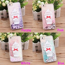 Wholesale Icecream Cases - For iPhone 6 6s   Plus TPU Soft Protective Cover Case Chic White Purple Blue Pink Quicksand Icecream Pattern Shockproof Back Shell Cases