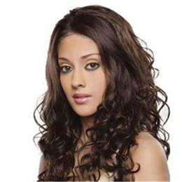 Wholesale Dark Brown Layered Long Wig - Ladies' Wave Synthetic wig long hair Heat Resistant Synthetic Lace Front wave curly Wig layered dark brown hair DHL bea447