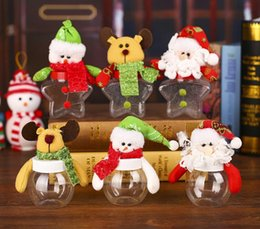 Wholesale Clear Candy Container Wholesaler - Christmas Candy Box Xmas Elk Santa Snowman Bear Dolls Topper Clear Sweet Boxes Container Kids Festive New Year Gift Wrap party decor
