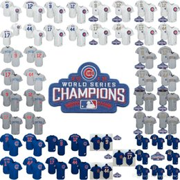 Wholesale Gold 12 - New Arrival Chicago Cubs 17 Kris Bryant 44 Anthony Rizzo Baseball Jersey 9 Javier Baez 12 Kyle Schwarber Jerseys 2016 World Series Patches