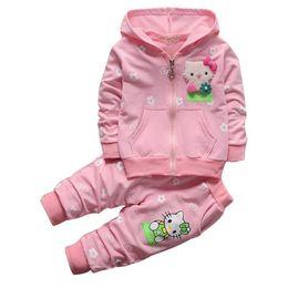 Wholesale Pant Girs - cute causal baby girl sweatshirt pants set cartoon hello kitty clothes set for 1-3yrs girs baby newborn infant coat pants set
