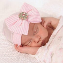 Wholesale Shiny Bow - 0-3M Newborn Baby Crochet Hats with Big Bow Cute Baby Girl Shiny Rhinestone Knitting Stripe Hedging Caps Autumn Winter Warm Cotton Cap BH06