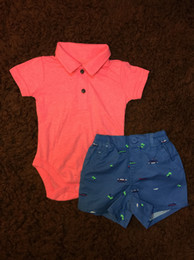 Wholesale Two Piece Shirt Pattern - Baby Boy Clothes Two Pieces Short Sleeve Shirt Romper+Car Pattern Short Pants American Style Infant Clothing