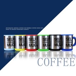 Wholesale Green Coffee Mugs Wholesale - Self Stirring Mug Sturdy Stainless Steel Coffee Cup Double Layer With Handle And Lid Mugs Six Colors 8 8jj B