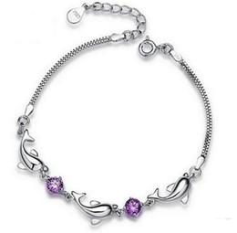 Wholesale Amethyst Fine Jewelry - Fine Jewelry Dolphins Amethyst Bracelet 30% 925 Sterling Silver AAA+ Austrian Zircon Crystal Purple White Bracelets 20pcs Free Shipping