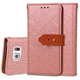 Billetera moleteada online-Estuche para teléfono con monedero de cuero en relieve para Europa para Huawei P8 Lite P9 LG 5 Mural patrón cubierta de cuero del tirón con Kickstand Ranuras para tarjetas de identificación