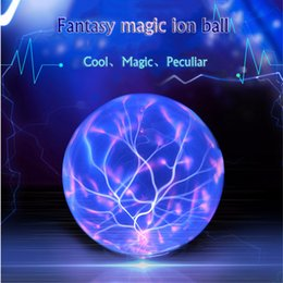 Wholesale Plasma Crystal Ball - Wholesale- Sound Control Magic Glass Plasma Ball Light Crystal Ball Lamp Ion Sphere Lightning Atmosphere Lamps Novelty Night Diameter 20cm