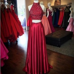 Wholesale Cheap Purple Silk Dresses - Burgundy 2 Piece Prom Dresses Long Cheap 2018 Customized Crystals High Neck Backless Thigh-High Slits Satin A Line Formal Gowns Evening Wear