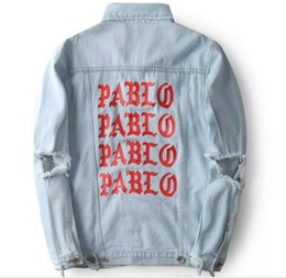 Wholesale Men S Jeans Jacket Coat - album PABLO Coats Kanye West Pablo Denim Jackets Men Hip Hop Yeezus Tour Streetwear Jeans Jackets I Feel Like Kanye Clothing
