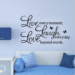 Wholesale Live Laugh Love Wall - Sales-Promotion Live Love Laugh Letters Transprent Waterproof Vinyl Wall Quotes Decal PVC Home Decor Wall Stickers 0706010
