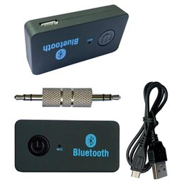 Wholesale bluetooth audio plug - A20 3.5mm FM Transmitter Wireless Bluetooth Car Kit With Audio Connectors Mic Plug Modulator Handsfree MP3 MP4 Player For iphone 6 6s 5