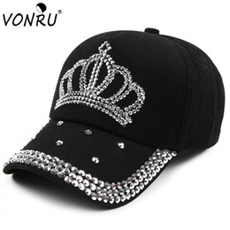 Wholesale Wholesale Denim Hats - Wholesale- VONRU Brand New Crown Rhinestone Baseball Caps Fashion Jean Hat Hip Hop Women Denim Baseball Cap Sun Hat
