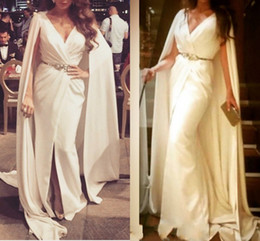 Wholesale Plus Size Maternity Winter Jackets - Sexy Formal Evening Dresses 2017 White With Cape Ruffles Beaded Sashes Cheap Long Sheer Front Split Prom Party Gowns Evening
