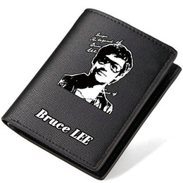 Wholesale Kung Fu Bags - Bruce Lee wallet Kung fu king purse Super star short long cash note case Money notecase Leather burse bag Card holders