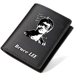 Wholesale King Japan - Bruce Lee wallet Kung fu king purse Super star short long cash note case Money notecase Leather burse bag Card holders
