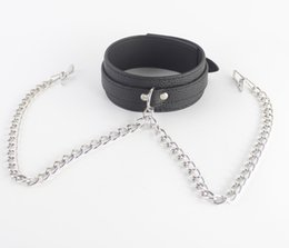 Wholesale Collar Chains Sex - bondage gear PVC dog collar neck collars with chained stainless steel Nipple clamps clips chain bdsm slave trainer adult sex toys for women