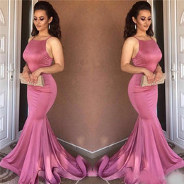 Wholesale Satin Dressing Gowns Women China - Sexy Mermaid Prom Dresses 2018 High Quality Sleeveless Long Evening Dresses Imported China Formal Gowns Party Dress Women