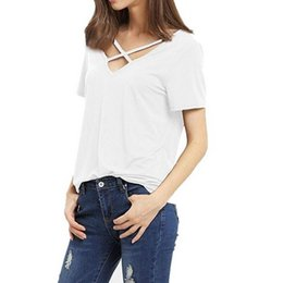Wholesale Sexy Tops For Women - 2017 ladies Ribbon T Shirts for women Short Sleeve V Neck Bandage T-Shirt Casual Sexy Women T Shirt Camisetas Lady Tops NV57 RF