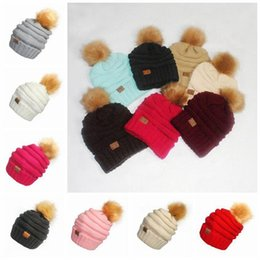 Wholesale Fur Knit Hats - CC Pom Pom Skullies Beanies Women Winter Cap Faux Fur Pompom Beanie Knitted Hats 17 Colors 20pcs OOA3385